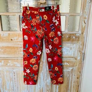 Johnny Lambs Jeans - Johnny Lambs Red Floral Stretchy Crop Jeans